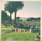 The scene at the Great Meadow at Fort Mason.
