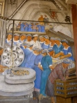 "Women cannery workers on the assembly line. From Ralph Stackpole's ""Industries of California."" Fresco, Coit Tower, 1934."