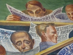 "Readers pore over headlines about the destruction of Rivera's mural, President Herbert Hoover, and European Fascism.  From Bernard Zakheim's ""Library.""   Fresco, Coit Tower, 1934."
