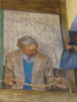 "Crashing stocks.  From George Harris, ""Banking and Law."" Fresco, Coit Tower, 1934."