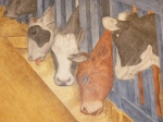 "Dairy cows. From Gordon Langdon's ""California Agricultural Industry."" Fresco, Coit Tower, 1934."