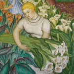 "A woman gathers Rivera-esque lilies. From Maxine Albro's ""California."" Fresco, Coit Tower, 1934."